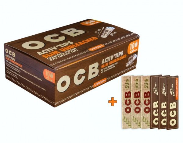OCB ActivTips Slim (7mm) Unbleached Aktionspaket